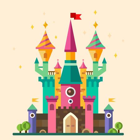 castillos de princesas: Castillo de la historieta fabuloso m�gicos. Vector ilustraciones planas