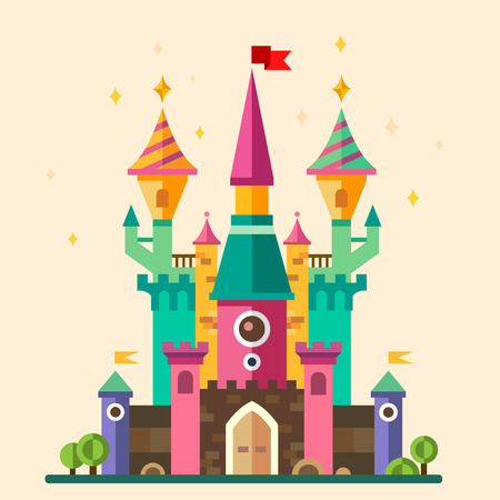fantasy landscape: Magical fabulous cartoon castle. Vector flat illustrations