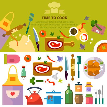 Gotowanie kuchnia. Miejsce pracy szefa kuchni: Naczynia żywności przyprawy narzędzia i przyrządy: dania z kurczaka ciasto mięso apron.Vector ilustracje płaskie
