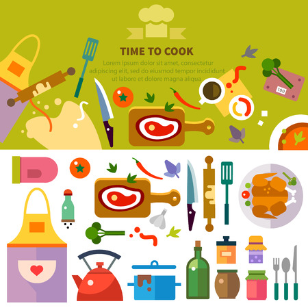 Keuken koken. Werkplek van chef: voedsel kruiden gebruiksvoorwerpen gereedschappen en apparaten: vlees gebakje kipgerechten apron.Vector flat illustraties Stock Illustratie