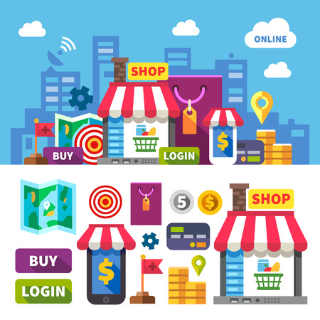 internet shop: Online shopping. Color vector flat icon set and illustration: city online store shopping food clothing cosmetics computer laptop phone money payment card map Illustration