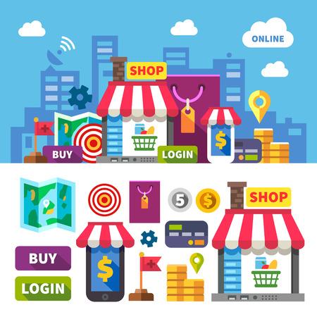 Shopping en ligne. vecteur de couleur à plat jeu d'icônes et illustrations: ville boutique en ligne de vêtements commerciaux cosmétiques alimentaire ordinateur portable téléphone carte de paiement d'argent carte Illustration