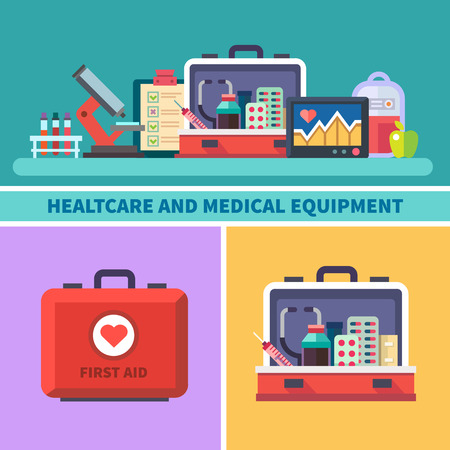 first aid box: Health care and medical equipment. First aid research microscope analyzes medicines cardiogram blood transfusion. Vector flat illustrations and icons Illustration
