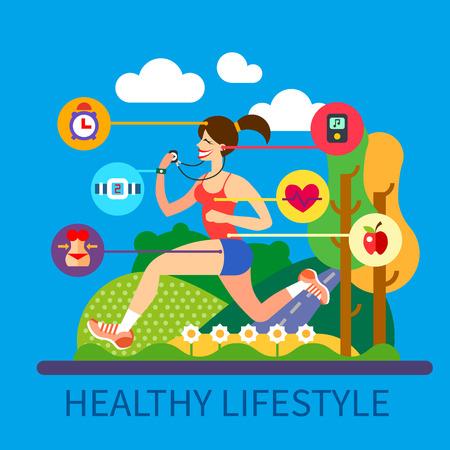 Forma de vida sana y el deporte: el ejercicio nutrición prestamista aspecto saludable régimen de cintura de la música día. Muchacha que activa en el parque en un día soleado. Vector ilustración plana y la información gráfica