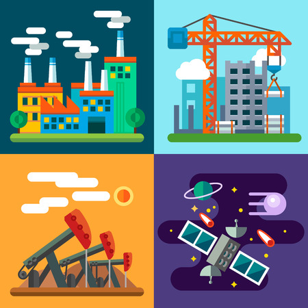 Industry landscapes and new technology: plant factory home construction crane oil rig space exploration satellite planet.