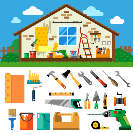 Home repair landscape. Construction. Tools and materials: hammer axe jig saw screwdriver wrench saw pliers drill screwdriver ruler wallpaper paint paintbrush. Vector flat illustration Stock Illustratie