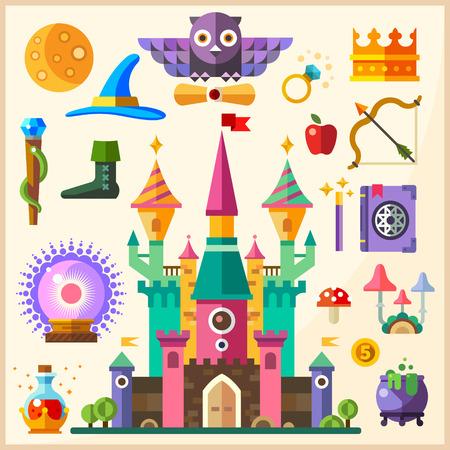 Magie en sprookjes. Magic Castle. Vector vlakke icoon en illustraties: kasteel uil ring kroon personeel hoed boek van spreuken toverstaf magische bal bowler potion paddestoelen buigen pijl apple