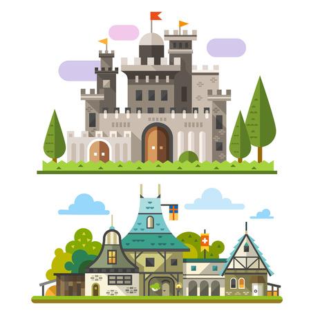 Középkori kő vár és a régi faházak tájak. Sprite a játék. Vector lapos illusztrációk