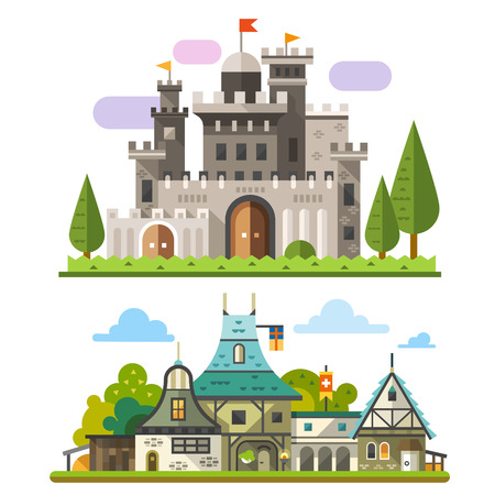 castle tower: Medieval stone fortress and old timber house landscapes. Sprites for game. Vector flat illustrations