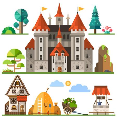 Medieval kingdom element: stone castle wooden house trees rocks well haystacks. Vector flat illustrations