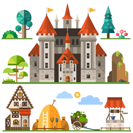 Medieval kingdom element: stone castle wooden house trees rocks well haystacks. Vector flat illustrations