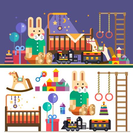 intérieur chambre des enfants: ballons lit de jouets train. En attendant bébé. Illustrations vectorielles plats objets et le fond