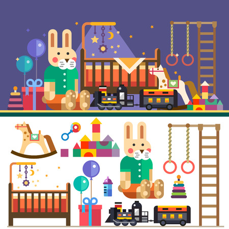 Kids room interior: bed toys balloons train. Waiting for baby. Vector flat illustrations objects and background Vector