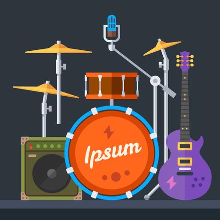 Hangszerek: gitár dob cintányér szintetizátor hangszóró mikrofon. Vektoros illusztráció lakás