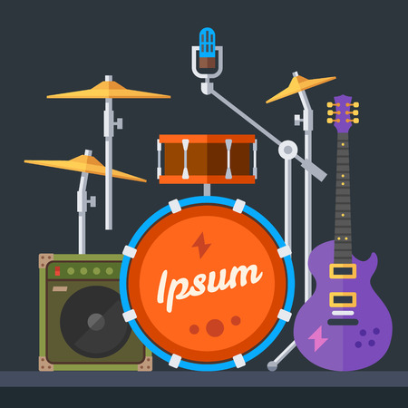 drum: Musical instruments: guitar drums cymbals synthesizer speaker microphone. Vector flat illustration