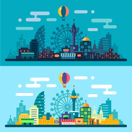 콘도: 밤과 낮의 도시 풍경입니다. 관람차와 고층 빌딩의 스카이 라인. 벡터 평면 그림