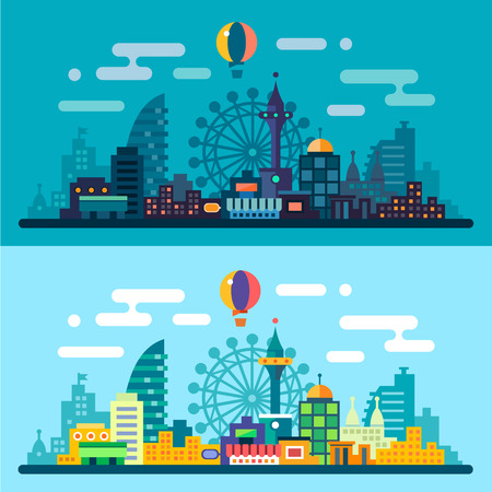 Notte e giorno paesaggio della città. Skyline con la ruota panoramica e grattacieli. Illustrazioni vettoriali piane Vettoriali