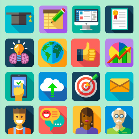 Online training. Vector flat icon set: hat computer tablet diploma certificate globe schedule idea download cloud target letter message professor teacher students chat communication