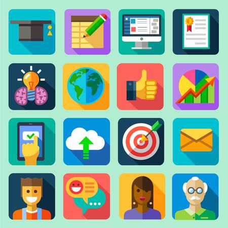 Online training. Vector flat icon set: hat computer tablet diploma certificate globe schedule idea download cloud target letter message professor teacher students chat communication