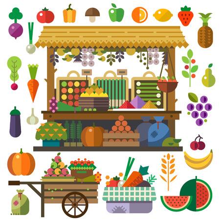 Продовольственный рынок. Вектор плоские овощи и фрукты. Морковь тыквы лук помидоры перец ананас вишня банан виноград яблоко груша. Вектор плоские иллюстрации и набор иконок