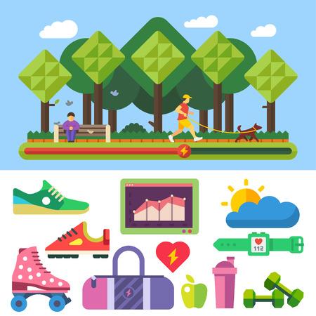 proper: Sport in esecuzione stile di vita sano esercizio fitness corretta alimentazione naturale parco bel tempo. Illustrazioni vettoriali piatti e set di icone. Vettoriali