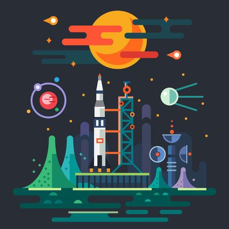 Paisaje del espacio de lanzamiento de cohetes en el fondo de una puesta de sol. El sol planetas satélite estrellas cometas luna montañas nubes estación espacial. Vector ilustraciones planas