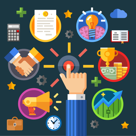cursor: Start your business. Color vector flat illustration: businessman clock bag cup money success calculator brain idea diary chart growth