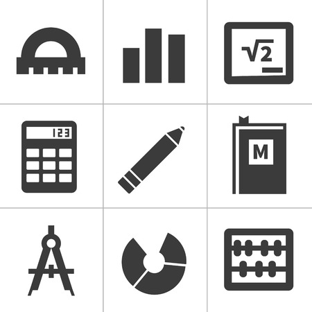 Set of monochrome flat maths icons. isolated on white Illustration