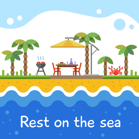 camp: Rest on the sea. Picnic on the beach under palm trees. Barbecue. Vector flat illustration