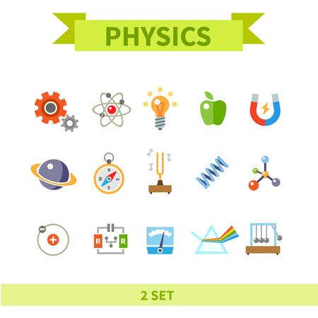 con: Physics flat con set Illustration