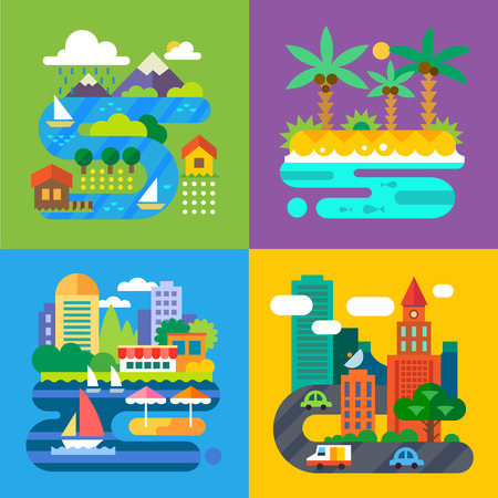Summer landscapes. Vacation and travel. Alpine village tropical island big city provincial town. Vector flat illustrations Vettoriali