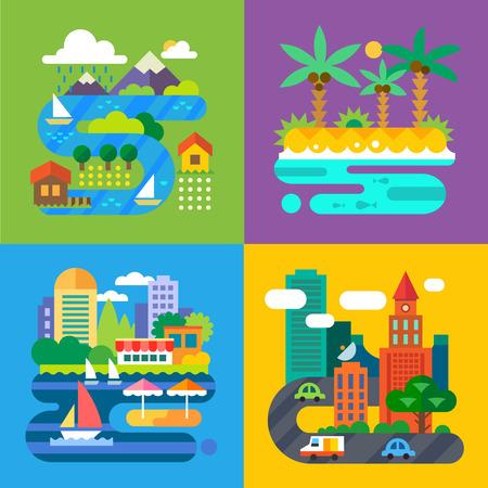 Paesaggi estivi. Vacanze e viaggi. Villaggio alpino isola tropicale grande città città di provincia. Illustrazioni vettoriali piane Vettoriali
