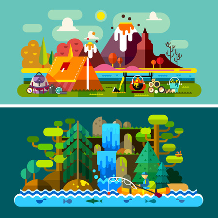pescador: Paisajes de verano: tienda de campa�a y el fuego en las monta�as de fondo un hombre en el barco flota en cascada del bosque r�o. Senderismo y camping. Vector ilustraci�n plana Vectores