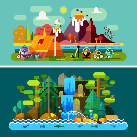 Yaz manzara: dağlar arka planda çadır ve yangın tekne bir adam nehir, orman, şelale üzerinde yüzer. Yürüyüş ve kamp. Vektör düz illüstrasyon