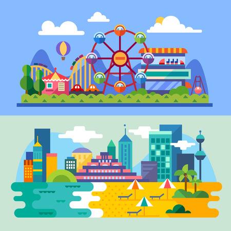 Zomer stadsstrand pretpark landschappen: reuzenrad achtbanen ballon seabeach. Vakantie. Vector flat illustraties
