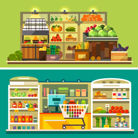 supermarkets: Shop supermarket interior: showcases fruits vegetables drinks sweets cash shopping basket. Healthy eating and eco food. Vector flat illustrations