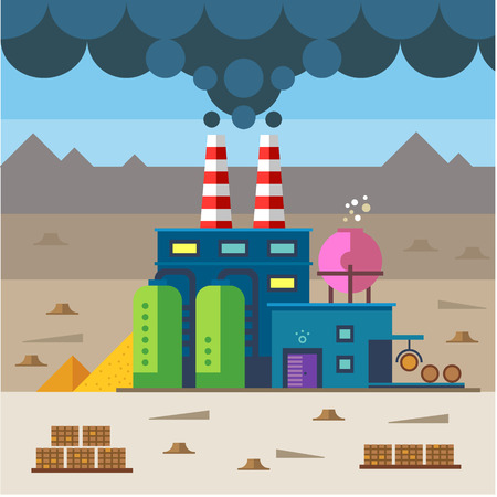 cartoon world: Industrial landscape. Factory and construction. Plant and materials. Environmental pollution and deforestation. Vector flat illustration
