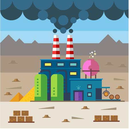 deforestacion: Paisaje industrial. Fábrica y la construcción. Planta y materiales. La contaminación y la deforestación ambiental. Vector ilustración plana