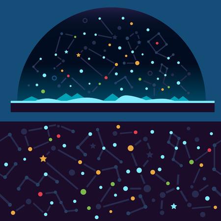 lucero: Cielo espacio estrellado. Estrellas universo constelación galaxia estrella fugaz. Vector ilustraciones planas