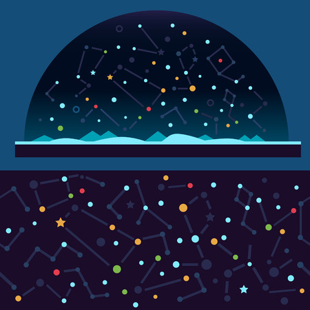 blue stars: Starry sky space. Stars universe constellation galaxy shooting star. Vector flat illustrations