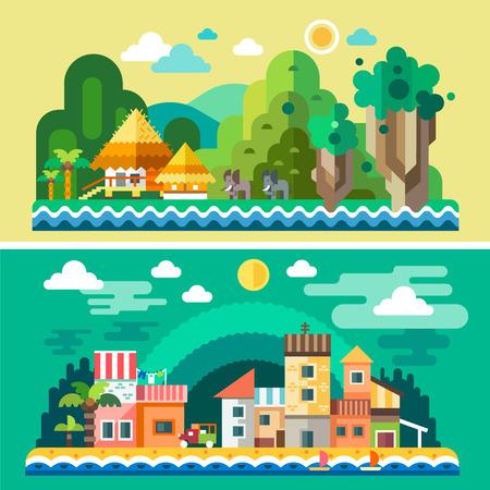 ilustracion: Paisaje de verano. Árboles isla de palmeras tropicales. Antecedentes para el sitio o juego. Vector ilustraciones planas