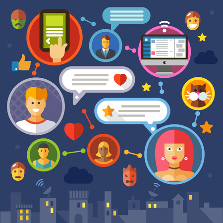 internet dating: Social network. Color vector flat illustration: media masses virtual communication chat internet dating love online game avatar users