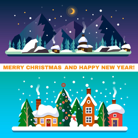blue moon: New Year and Christmas landscapes. Day and night