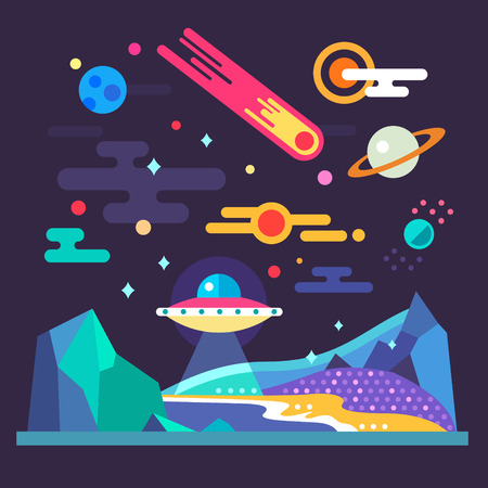 Ruimte landschap: sterren planeten komeet ufo sterrenstof. Zonnestelsel. Reliëf van de planeet: blauwe bergen paars land geel zand. Vector platte illustraties en achtergrond