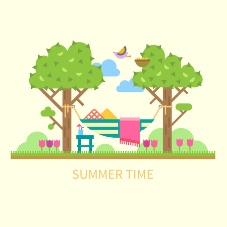 Summer landscape with a hammock trees flowers birds. Vector flat illustration Ilustracja