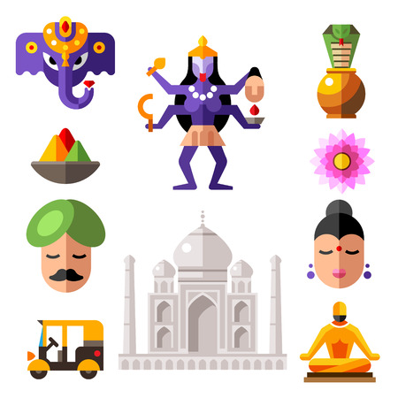 indian gods: Indian color flat icon set