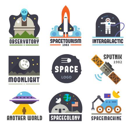 raum: Raumzeiger gesetzt. Observatory Tourismus Galaxie Mond Satelliten astronaut ausländer. Vector flach und Icon-Set