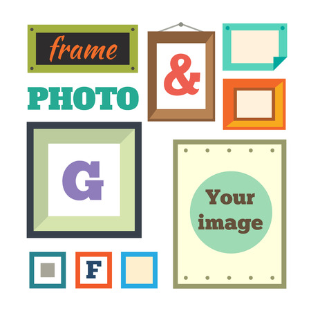 photo frames: Vector set of different colorful photo frames in flat style: green red blue orange pink. Retro frames. Vector flat illustrations.