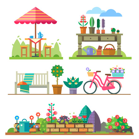 Garden landscapes summer and spring: picnic bike watering can flower bed. Vector flat illustrations Stock Illustratie