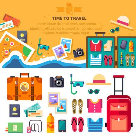 Zaman yaz tatil plaj dinlenme seyahat: güneş, deniz dalgaları şapka açık bavul giysi ayakkabı pasaport bilet haritayı maske. Vektör düz arka plan ve çizimler nesneleri